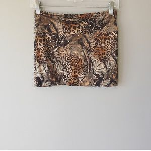 Wild Punch Animal Print Sequin Mini Skirt Small